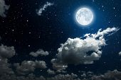 picture of clouds sky  - backgrounds night sky with stars and moon and clouds - JPG