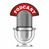 pic of microphone  - Microphone with podcast banner - JPG