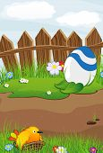 picture of bird fence  - Bird and colorful Easter eggs near a wooden fence on a spring meadow - JPG