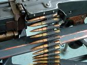 pic of mg  - Tape with bullets filled in the German machine gun of times of World War II - JPG