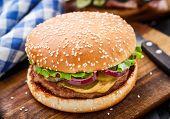 foto of pork cutlet  - Burger with pork cutlete and pickles - JPG