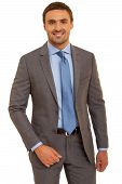 pic of mans-best-friend  - Confident, friendly businessman looking to the camera. Man in shirt with tie. Isolated on white background ** Note: Soft Focus at 100%, best at smaller sizes - JPG