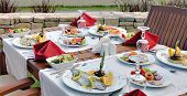 foto of catering  - Detail of table set for wedding or another catered event dinner - JPG