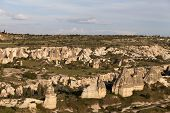 stock photo of goreme  - View on evening Cappadocia valley in spring - JPG