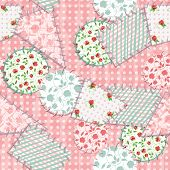 foto of shabby chic  - Imitation sewn pieces of fabric in a patchwork style shabby chic - JPG
