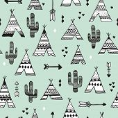foto of teepee tent  - Seamless teepee tent arrow and cactus botanical indian summer illustration background western pattern in vector - JPG