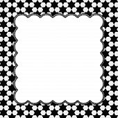 picture of hexagon  - Black and White Hexagon Background with Embroidery with center for copy - JPG