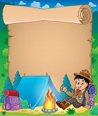 stock photo of boy scout  - Parchment with scout boy theme  - JPG