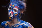 image of muse  - Young woman muse with creative body art and hairdo - JPG