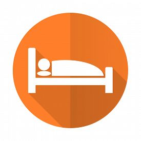 picture of flat-bed  - hotel orange flat icon bed sign  - JPG