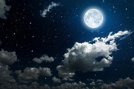 image of moonlight  - backgrounds night sky with stars and moon and clouds - JPG