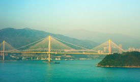 stock photo of hong kong bridge  - View of Ting Kau Bridge is a 1177-metre long cable-stayed bridge in Hong Kong