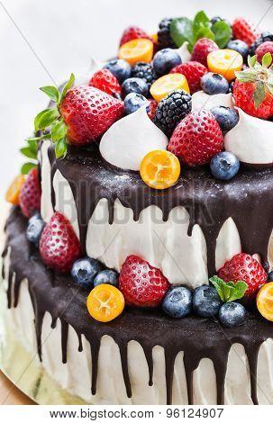 Торт двухъярусный с фруктами рецепт 56
