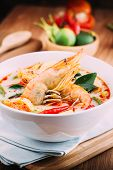 picture of thai cuisine  - Tom Yum Kung and condiments  - JPG