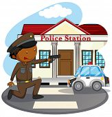 pic of policeman  - Policeman in uniform and police station - JPG