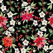 pic of christmas flower  - Beautiful vector pattern with nice watercolor christmas flowers - JPG