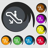 stock photo of escalator  - elevator Escalator Staircase icon sign - JPG