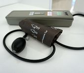 picture of sphygmomanometer  - Medical manual sphygmomanometer on the table in hospital - JPG