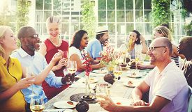 image of diversity  - Diverse People Luncheon Outdoors Hanging out Concept - JPG