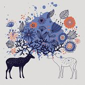 Cartoon abstract background with deers and floral themes
