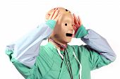 Crash Test Dummy Head On A Medical Worker In Shock And Frustration Of Fear