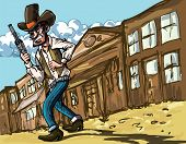 stock photo of sixgun  - Cartoon cowboy with sixguns  - JPG