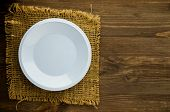 Plate On A Wooden Background.blue Plate. Plate Top View. Copy Space poster
