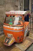 image of rickshaw  - A three wheel form of transport from the Indian Sub-Continent ** Note: Slight blurriness, best at smaller sizes - JPG