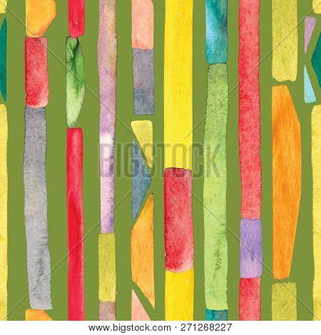 Bauhaus Pattern Multicolored Geometric Watercolor