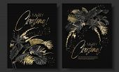 Tropical Leaves Black Gold Botany Christmas Cards poster