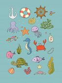 Big Set Of Marine. Sea Theme. Cute Cartoon Turtle Starfish, Funny Fish, Jellyfish And Sea Horse, Sea poster