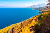 Trail Overlooking The Coastline In Zingaro Nature Reserve, Sicily, Italy poster