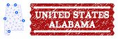Air Ticket Combination Of Polygonal Mesh Map Of Alabama State And Scratched Seal. Vector Red Seal Wi poster