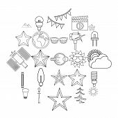 Flash Icons Set. Outline Set Of 25 Flash Icons For Web Isolated On White Background poster