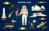 Astronaut In Space. Spaceman Explores The Galaxy. Set Of Astronomical Universe. Cosmonaut Explore Ad poster