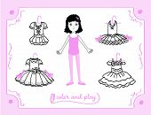 Young Girl As Ballet Dancer. Dress Up Paper Doll In Cartoon Style With Ballet Tutus. Color, Cut And  poster