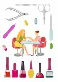 Spa Salon Manicure Manicurist And Tools For Nail Polishing Service. Gels Bottles With Brushes, Cutic poster