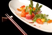 Plate Of Japanese Sashimi With Chop Sticks poster