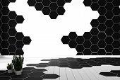 Hexagon Tile Color Black And White Hardwood Floor - Minimal. 3d Rendering poster