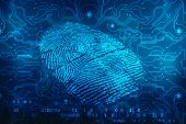 Fingerprint Scanning Identification System. Biometric Authorization And Business Security Concept, F poster