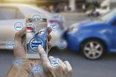 Hand Use Smartphone With Car Claim Icons Over The Network Connection On Car Crash Background, Car Ac poster
