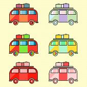 Colorful Vintage Hippie Van. 6 Icons Isolated. Vector Illustration Of Vintage Hippie Camper Bus poster