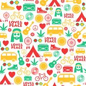 Seamless Pattern With Colorful Hand Drawn Hippie Objects poster