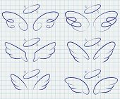 Cute Angel Wings With Halo Set. Cartoon Vector Sketch Icons Isolated On Notebook Page. poster