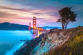 Classic Panorama View Of Famous Golden Gate Bridge Seen From Scenic Baker Beach In Beautiful Post Su poster