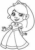 Line Art Illustration Of Cute Little Princess Smiling On White Background. poster