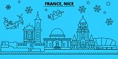 France, Nice Winter Holidays Skyline. Merry Christmas, Happy New Year Decorated Banner With Santa Cl poster