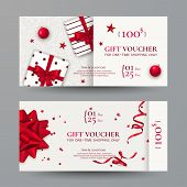 Vector Set Of Elegant Christmas Gift Vouchers With Realistic Red Bows, Gift Boxes, Toys, Ribbons, St poster