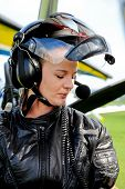 pic of ultralight  - A girl poses with flight gear - JPG