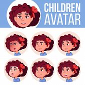Girl Avatar Set Kid Vector. Kindergarten. Face Emotions. Web, Head, Icon. Beauty, Lifestyle, Friendl poster